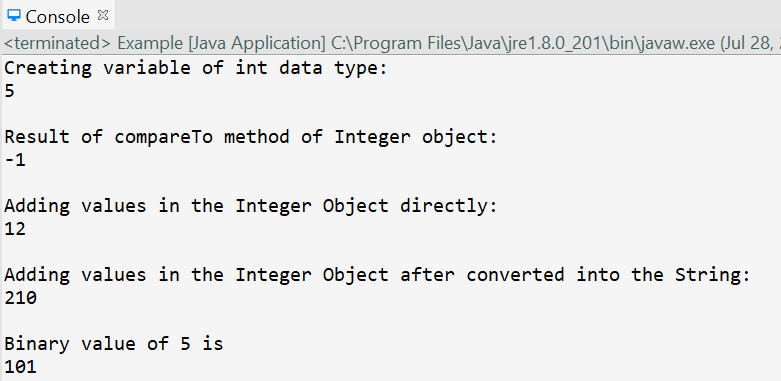 Console Output using Integer and int.