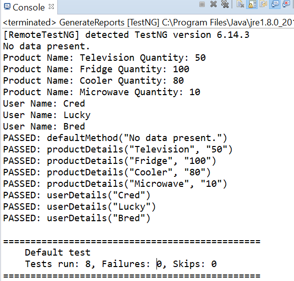 Console Output for Method parameter.