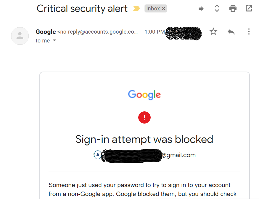 Gmail security alert.