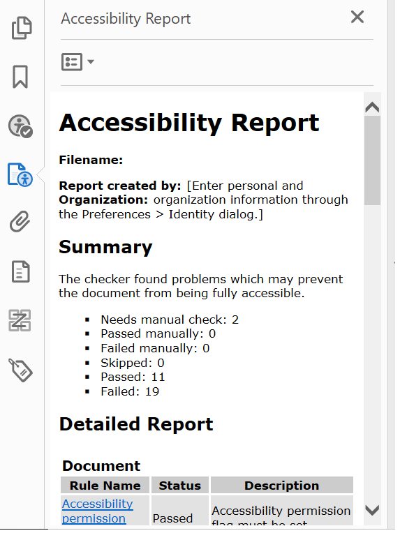 Accessibility Report Sample