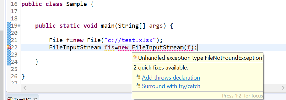Snapshot of the coding which shows the compile time error to handle FileNotFoundException.